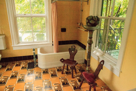 Key West, Florida, USA - September 1, 2018: Bathtub in the bathroom of Ernest Hemingway's House in Key West, Florida. For editorial use.