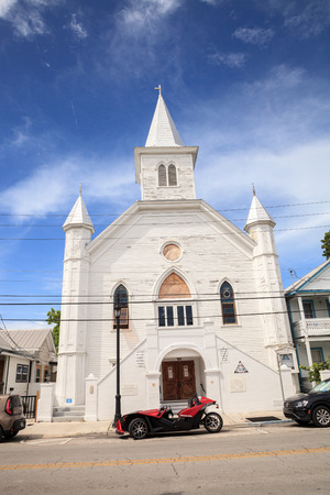 Key West, Florida, USA - September 1, 2018: Cornish Memorial AME Zion Church on Whitehead Street in Key West, Florida. For editorial use.