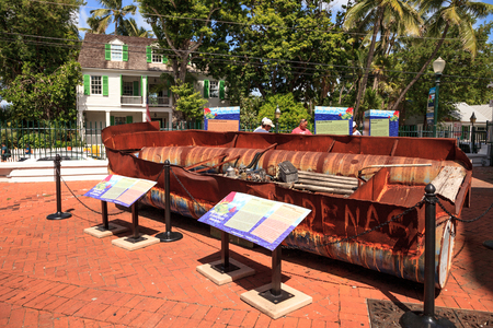 Key West, Florida, USA - September 1, 2018: Originally carrying 23 Cuban men and Women, a raft dubbed the Mariana sailed 111 miles to Key West, Florida's shore.