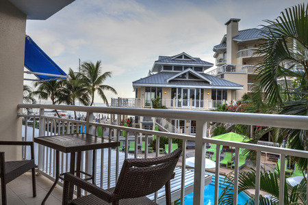Key West, Florida, USA - September 1, 2018: Ocean view from the balcony of a room at the Hyatt Centric Key West Resort and Spa in Key West, Florida. For editorial use.