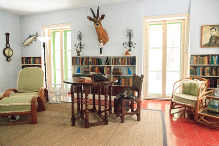 Key West, Florida, USA - September 1, 2018: Writing office at Ernest Hemingway's House in Key West, Florida. For editorial use.