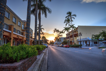 Naples, Florida, USA – September 16, 2018: Sunset over the shops along 5th Street in Old Naples, Florida. Editorial