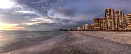 Dusk sky over South Marco Island Beach at Sunset in Florida Stock Photo