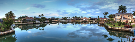 Waterway leading to the Gulf Coast of Marco Island, Florida at sunrise