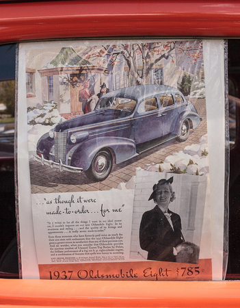 Estero, Florida, USA - February 23, 2019:  Old fashioned advertisement for the 1937 Oldsmobile Eight. Editorial use.