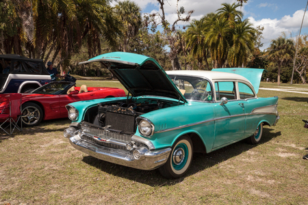 Estero, Florida, USA - February 23, 2019:  Blue custom 1955 Chevrolet at the 10th Annual Classic Car and Craft Show at historic Koreshan State Park.