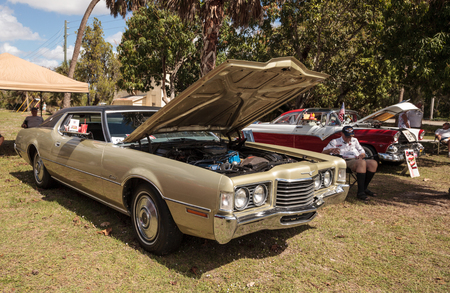 Estero, Florida, USA - February 23, 2019:  Tan 1972 Thunderbird at the 10th Annual Classic Car and Craft Show at historic Koreshan State Park.