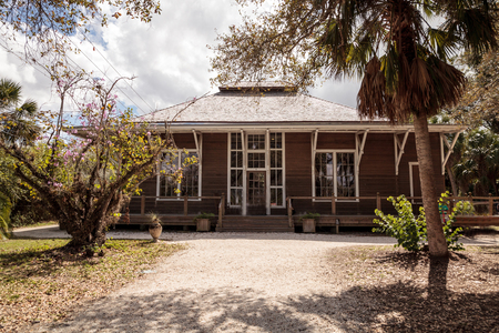 Estero, Florida, USA - February 23, 2019:  1905 Art Hall at historic Koreshan State Park.