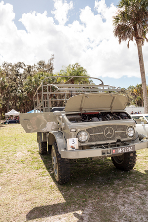 Estero, Florida, USA - February 23, 2019:  Tan 1961 Mercedes Unimog at the 10th Annual Classic Car and Craft Show at historic Koreshan State Park. Editorial Use.
