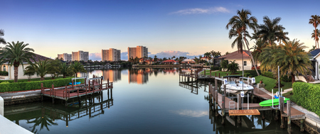 Riverway that leads to the ocean on Marco Island, Florida at Sunrise. Stock Photo