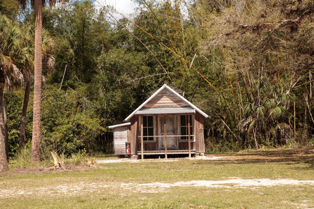 Estero, Florida, USA - February 23, 2019:  1903 Conrad Schlender Cottage at historic Koreshan State Park.