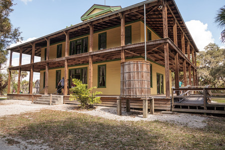 Estero, Florida, USA - February 23, 2019:  1904 Planetary Court at historic Koreshan State Park.