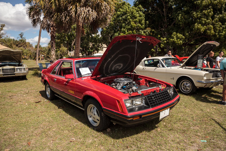 Estero, Florida, USA - February 23, 2019:  Red 1979 Ford Mustang at the 10th Annual Classic Car and Craft Show at historic Koreshan State Park. Editorial Use. Editorial