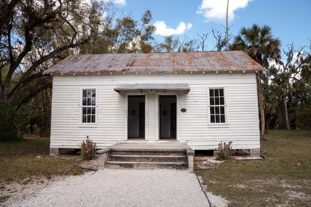 Estero, Florida, USA - February 23, 2019:  1920 Vesta Newcomb Cottage at historic Koreshan State Park.