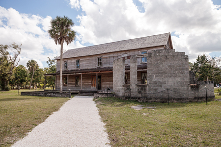 Estero, Florida, USA - February 23, 2019:  1896 Founders House at historic Koreshan State Park.