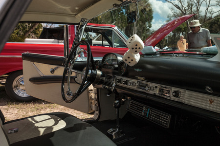Estero, Florida, USA - February 23, 2019:  White 1956 Thunderbird at the 10th Annual Classic Car and Craft Show at historic Koreshan State Park. Editorial