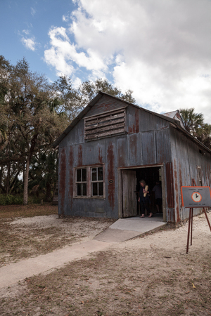 Estero, Florida, USA - February 23, 2019:  1908 Generator Building at historic Koreshan State Park.