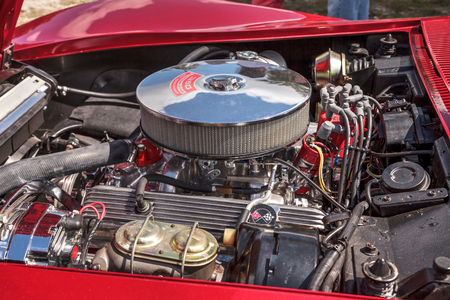 Estero, Florida, USA - February 23, 2019:  Red 1969 Chevrolet corvette stingray convertible at the 10th Annual Classic Car and Craft Show at historic Koreshan State Park.