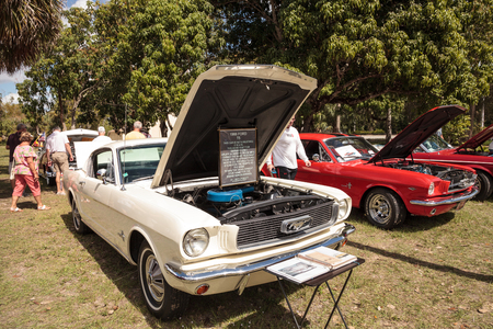 Estero, Florida, USA - February 23, 2019:  White 1966 Ford T5, German version of the Mustang, at the 10th Annual Classic Car and Craft Show at historic Koreshan State Park. Editorial Use.