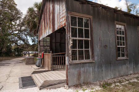 Estero, Florida, USA - February 23, 2019:  1904 Large Machine Shop at historic Koreshan State Park.