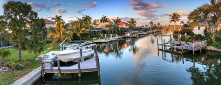 Riverway that leads to the ocean on Marco Island, Florida at Sunrise. 写真素材