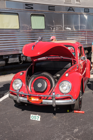 Naples, Florida, USA – March 23,2019: Red 1963 VW Bug at the 32nd Annual Naples Depot Classic Car Show in Naples, Florida. Editorial only.