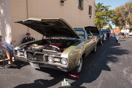 Naples, Florida, USA – March 23,2019: Green 1969 Oldsmobile Cutlass 442 at the 32nd Annual Naples Depot Classic Car Show in Naples, Florida. Editorial only.