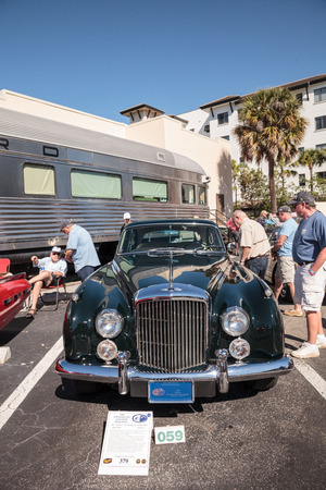 Naples, Florida, USA – March 23,2019: Rare blue 1962 Bentley S2 Continental Flying Spur at the 32nd Annual Naples Depot Classic Car Show in Naples, Florida. Editorial only. Editorial