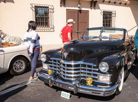 Naples, Florida, USA – March 23,2019: Black 1947 Cadillac convertible at the 32nd Annual Naples Depot Classic Car Show in Naples, Florida. Editorial only.