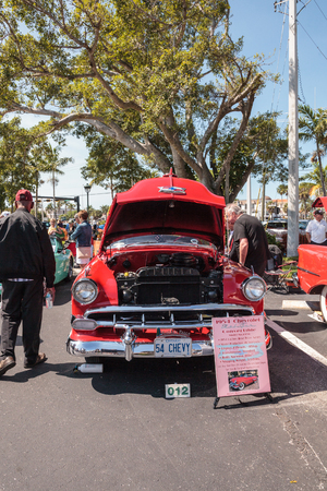 Naples, Florida, USA – March 23,2019: Red 1954 Chevrolet Bel Air Convertible at the 32nd Annual Naples Depot Classic Car Show in Naples, Florida. Editorial only.