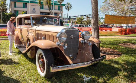 Naples, Florida, USA – March 23,2019: Tan 1932 Cadillac at the 32nd Annual Naples Depot Classic Car Show in Naples, Florida. Editorial only.