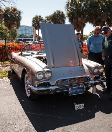 Naples, Florida, USA – March 23,2019: Tan 1961 Chevrolet Corvette at the 32nd Annual Naples Depot Classic Car Show in Naples, Florida. Editorial only. 報道画像