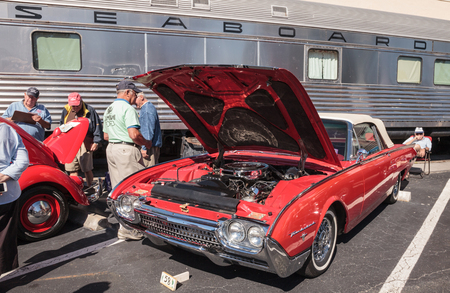 Naples, Florida, USA – March 23,2019: Red 1962 Thunderbird Roadster at the 32nd Annual Naples Depot Classic Car Show in Naples, Florida. Editorial only. Editorial