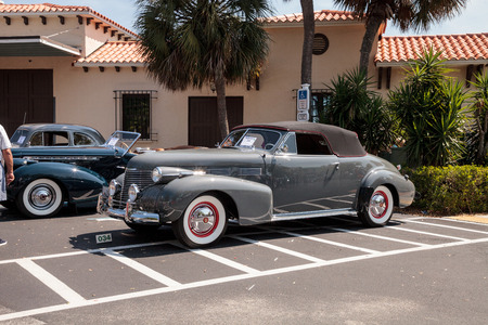 Naples, Florida, USA – March 23,2019: Grey 1946 Cadillac Series 62 at the 32nd Annual Naples Depot Classic Car Show in Naples, Florida. Editorial only. Editorial