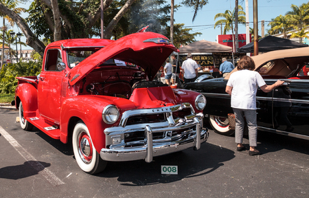 Naples, Florida, USA – March 23,2019: Red 1954 Chevrolet at the 32nd Annual Naples Depot Classic Car Show in Naples, Florida. Editorial only. 報道画像