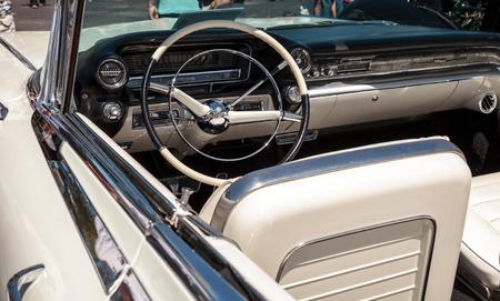 Naples, Florida, USA – March 23,2019: White 1959 Cadillac Eldorado at the 32nd Annual Naples Depot Classic Car Show in Naples, Florida. Editorial only. Editorial