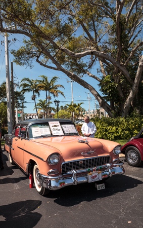 Naples, Florida, USA – March 23,2019: Peach 1955 Chevrolet Bel Air at the 32nd Annual Naples Depot Classic Car Show in Naples, Florida. Editorial only.