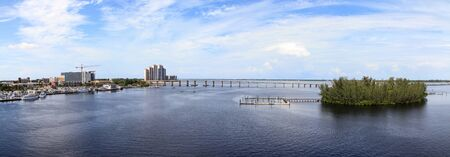 Caloosahatchee Bridge over the Caloosahatchee River in Fort Myers, Florida.