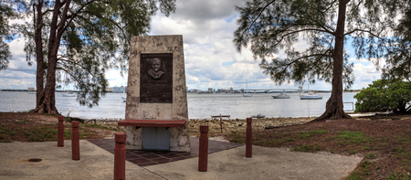 Ken Thompson Monument in front of the boat ramp at the park in Sarasota, Florida