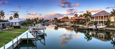 Riverway that leads to the ocean on Marco Island, Florida at Sunrise. 報道画像