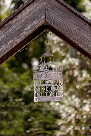 White wire birdhouse hangs in a rustic garden in Laguna Beach, California