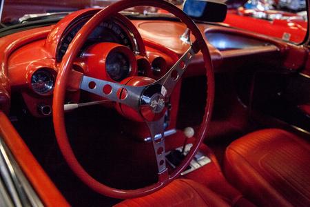 Punta Gorda, Florida, USA – October 13, 2019: Dark Blue 1958 Chevrolet corvette convertible displayed at the Muscle Car City museum. Editorial Use