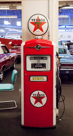 Punta Gorda, Florida, USA – October 13, 2019: Antique Red Texaco Gasoline pump displayed at the Muscle Car City museum. Editorial Use
