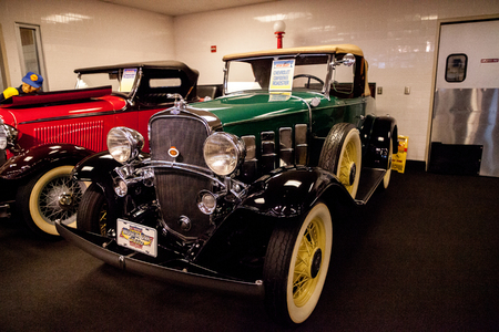 Punta Gorda, Florida, USA – October 13, 2019: Green 1932 Chevrolet confederate roadster displayed at the Muscle Car City museum. Editorial Use