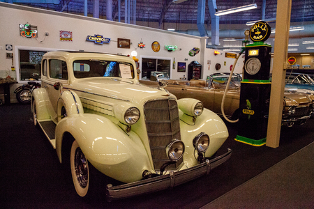 Punta Gorda, Florida, USA – October 13, 2019: Celery Stalk Green 1935 Cadillac displayed at the Muscle Car City museum. Editorial Use Stock Photo - 132991316