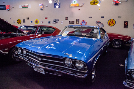 Punta Gorda, Florida, USA – October 13, 2019: Blue 1969 Chevrolet Chevelle SS displayed at the Muscle Car City museum. Editorial Use 報道画像
