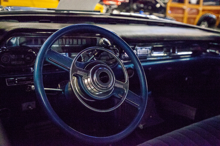 Punta Gorda, Florida, USA – October 13, 2019: Blue 1957 Cadillac Eldorado displayed at the Muscle Car City museum. Editorial Use