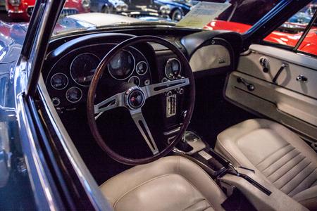 Punta Gorda, Florida, USA – October 13, 2019: Grey blue 1967 Chevrolet Corvette L-71 original displayed at the Muscle Car City museum. Editorial Use 에디토리얼
