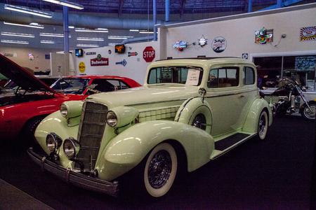 Punta Gorda, Florida, USA – October 13, 2019: Celery Stalk Green 1935 Cadillac displayed at the Muscle Car City museum. Editorial Use Stock Photo - 132991524