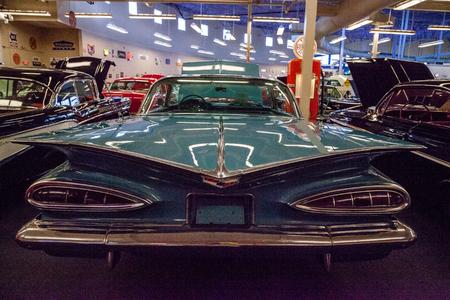 Punta Gorda, Florida, USA – October 13, 2019: Blue 1961 Chevrolet Bel Air convertible displayed at the Muscle Car City museum. Editorial Use